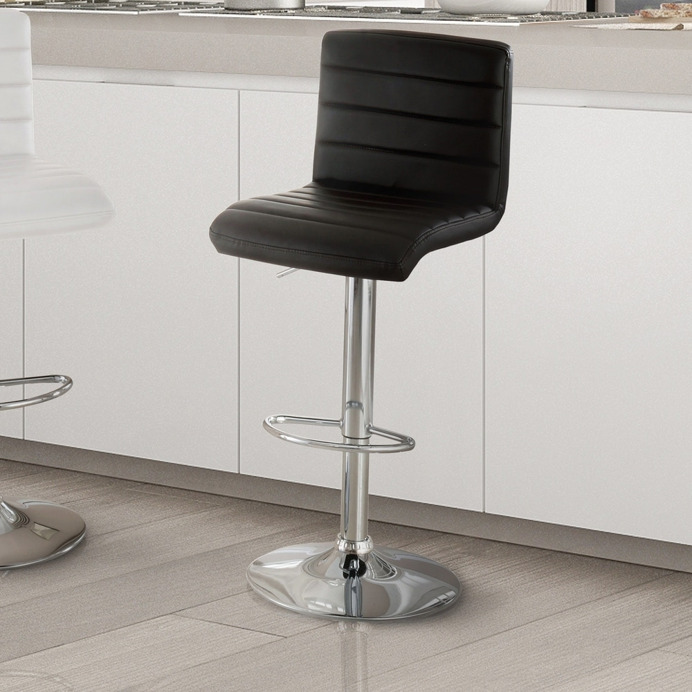 Furniture of America Wisc Modern White Faux Leather Padded Bar Stool