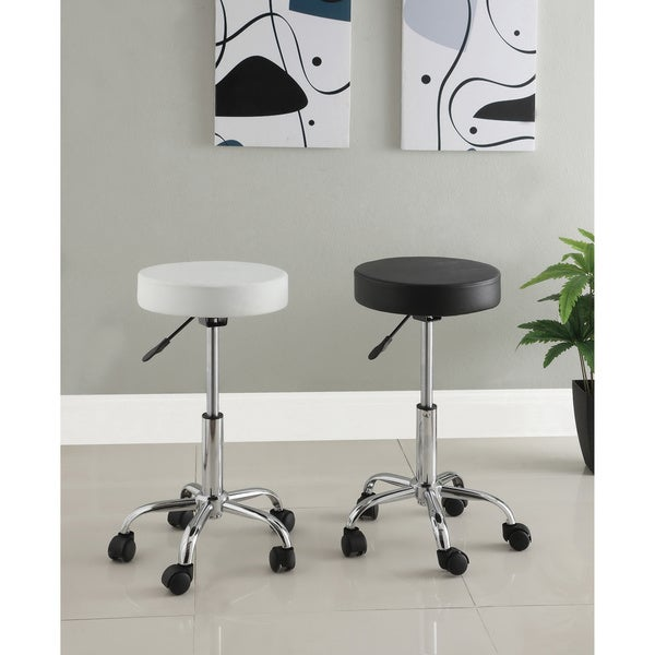 Furniture of America Rolling Ryder Height Adjustable Leatherette Bar Stool