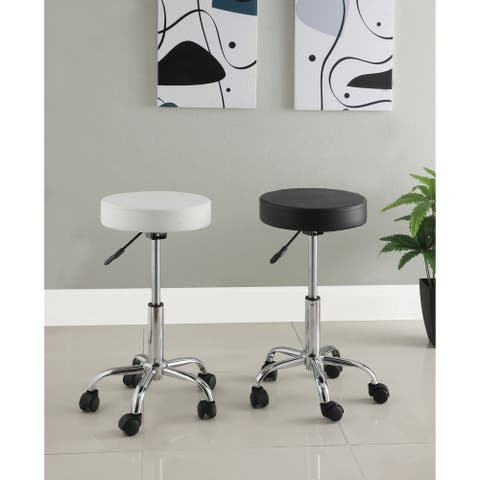 Furniture of America Mier Modern Black Faux Leather Padded Barstool