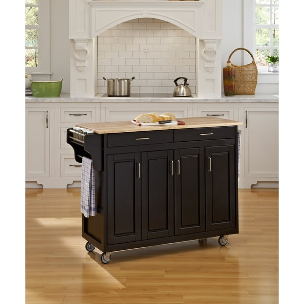 Home Styles Black Finish with Wood Top Create-a-Cart