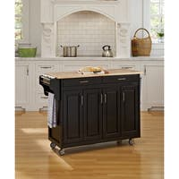 Gracewood Hollow Defoe Black Finish with Wood Top Kitchen Cart