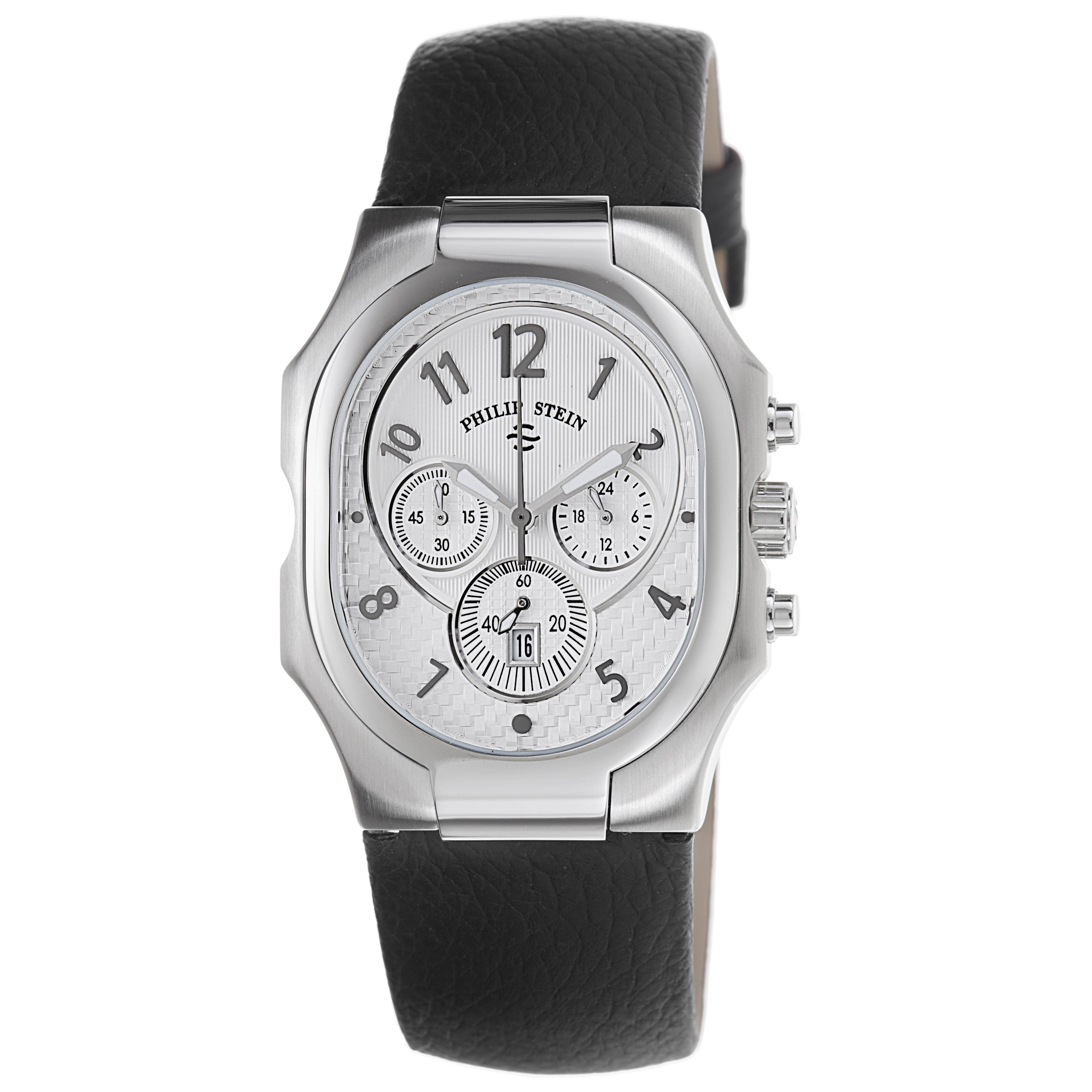 Philip stein men 39 s 39 signature 39 chronograph black strap watch free shipping today overstock for Philip stein watches