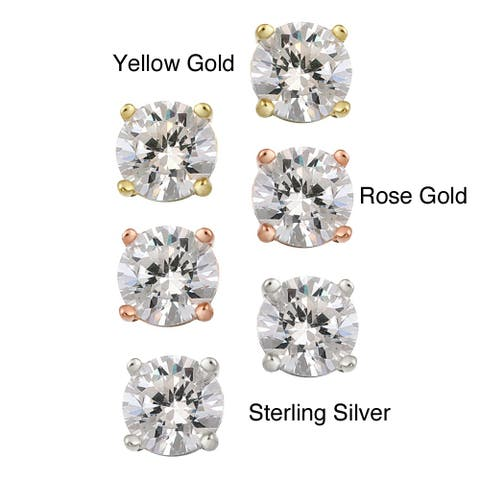 Icz Stonez Polished Sterling Silver Round-cut White CZ Stud Earrings