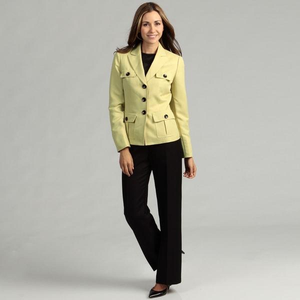 Evan Picone Women's Zesty/ Black 3-button Pant Suit