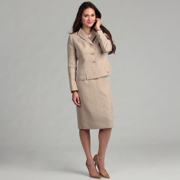 Evan Picone Women's 3-button Ruffle Collar Skirt Suit