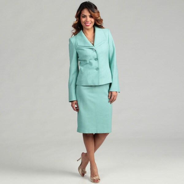 Evan Picone Women's Opal 3-button Skirt Suit
