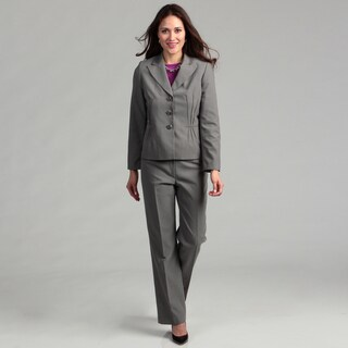 Evan Picone Women's Three-button Twill Peak Lapel Pant Suit