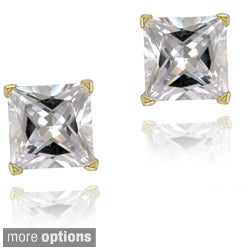 Icz Stonez Sterling Silver 4.2ct CZ Square Stud Earrings