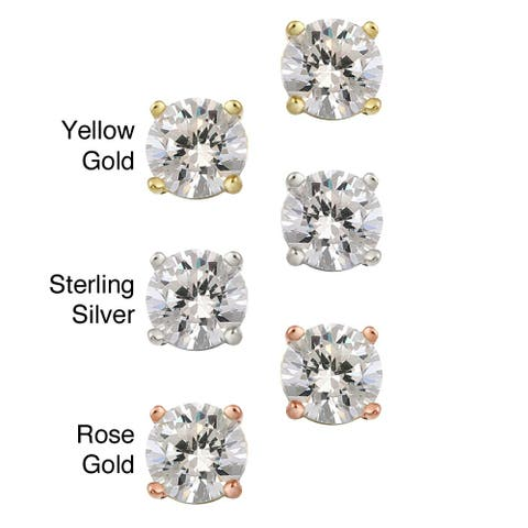 Icz Stonez Sterling Silver 1.58ct CZ Round Stud Earrings