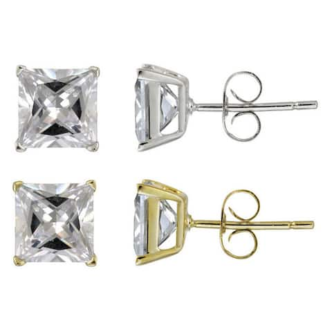 Icz Stonez Sterling Silver 6.66ct CZ Square Stud Earrings
