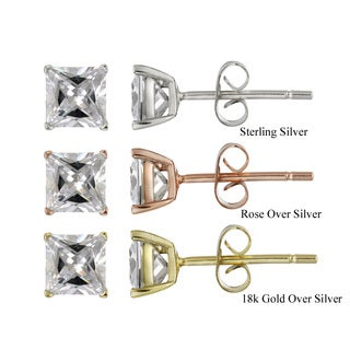 Icz Stonez Sterling Silver 2.42ct CZ Square Stud Earrings