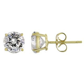 Icz Stonez Sterling Silver 4.34ct CZ Round Stud Earrings (Option: Yellow)