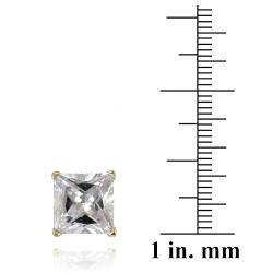 Icz Stonez Sterling Silver 10.24ct CZ Square Stud Earrings - Thumbnail 2