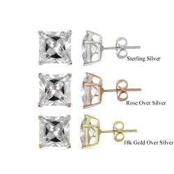 Icz Stonez Sterling Silver 10.24ct CZ Square Stud Earrings
