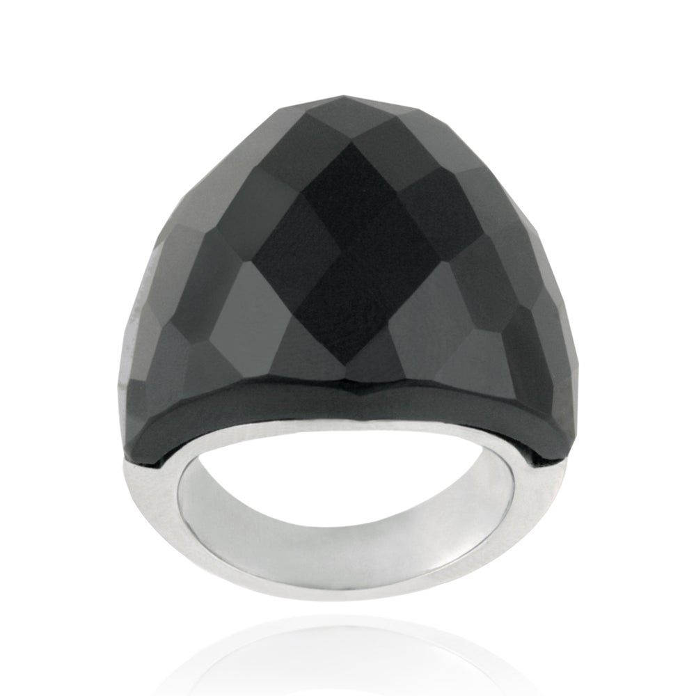 Glitzy Rocks Stainless Steel Bold Faceted Onyx Ring