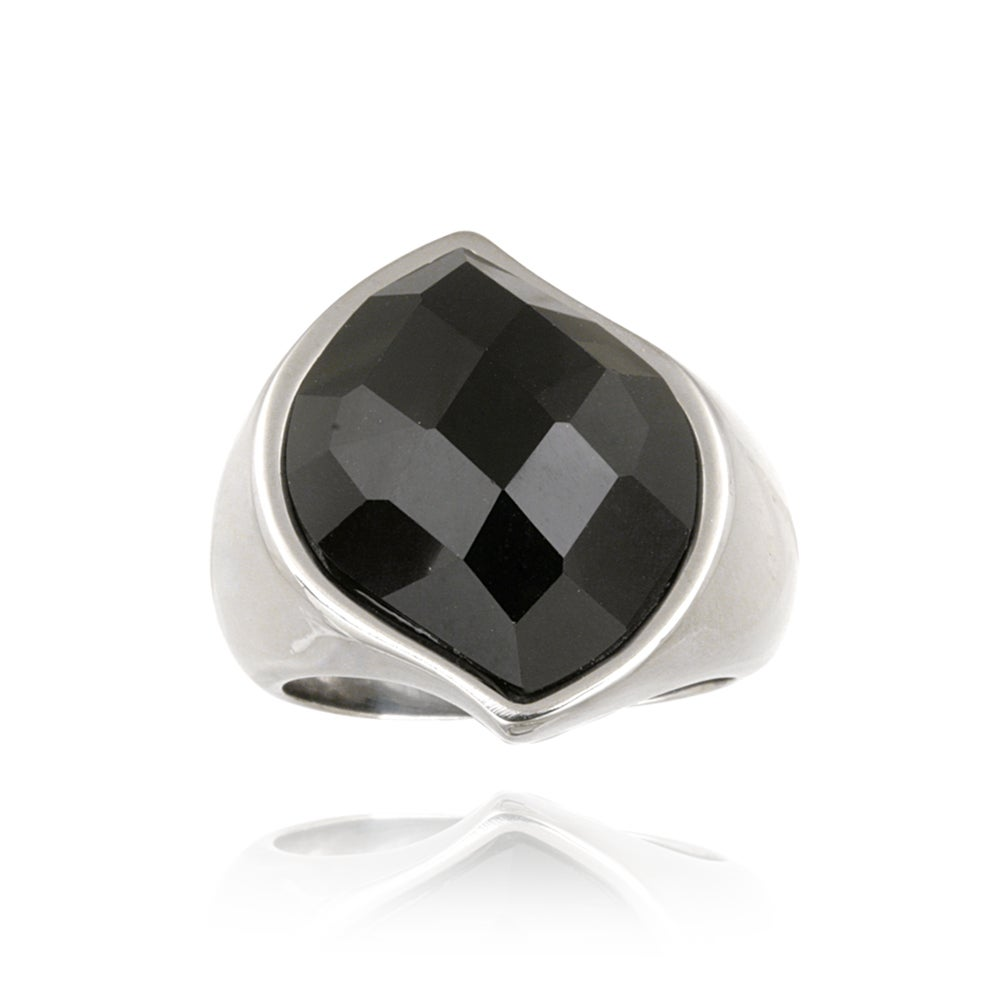 Glitzy Rocks Stainless-steel Bold Faceted Onyx Cocktail Ring