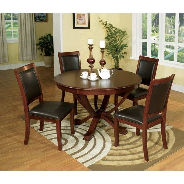Furniture of America Kristen 5-piece Brown Cherry Dining Set