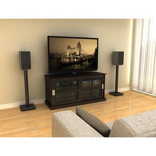 Atlantic Adjustable Bookshelf Black Speaker Stands (Set of 2)