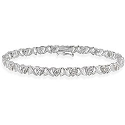 DB Designs Sterling Silver Heart and X Diamond Accent Bracelet
