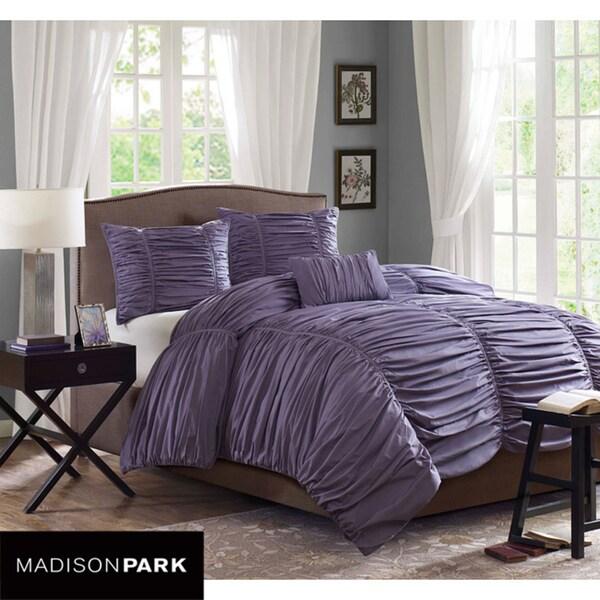 Madison Park Melrose Plum 4-piece King-size Comforter Set