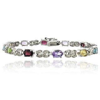 Glitzy Rocks 24k Goldplated Silver Gemstone Bracelet