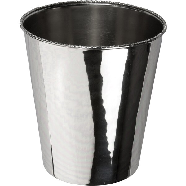 Shiny Nickel-plated Smooth Brass Beaded-edge Solid-color Wastebasket
