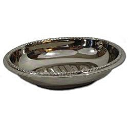 Nickel-plated Brass Deep Oval Ridged-bottom Soap Dish with Beaded Edge - Thumbnail 1