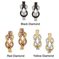 DB Designs Sterling Silver Diamond Accent Love knot J Style Hoop Earrings