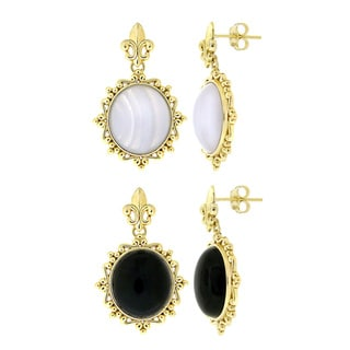 Glitzy Rocks Goldtone Bronze Onyx Or Lace Dangle Earrings