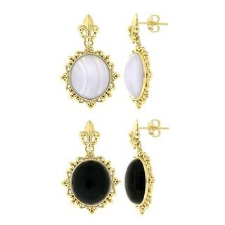 Glitzy Rocks Goldtone Bronze Onyx Or Lace Dangle Earrings