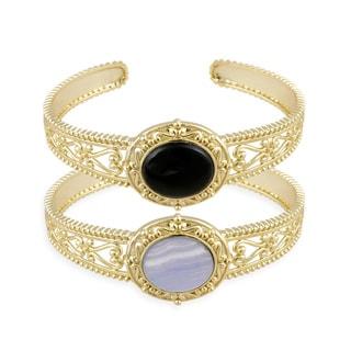 Glitzy Rocks Goldtone Onyx Cuff Bracelet