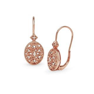 DB Designs Sterling Silver Diamond Accent Filigree Oval Leverback Drop Earrings