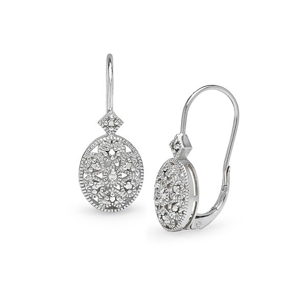 DB Designs Sterling Silver Diamond Accent Filigree Drop Earrings. Opens flyout.