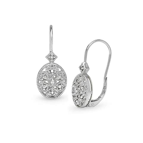 DB Designs Sterling Silver Diamond Accent Filigree Drop Earrings
