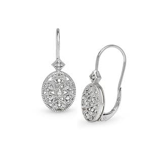 DB Designs Sterling Silver Diamond Accent Filigree Oval Leverback Earrings|https://ak1.ostkcdn.com/images/products/6604760/P14174916.jpg?impolicy=medium