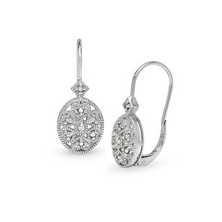 DB Designs Sterling Silver Diamond Accent Filigree Oval Leverback Earrings (3 options available)