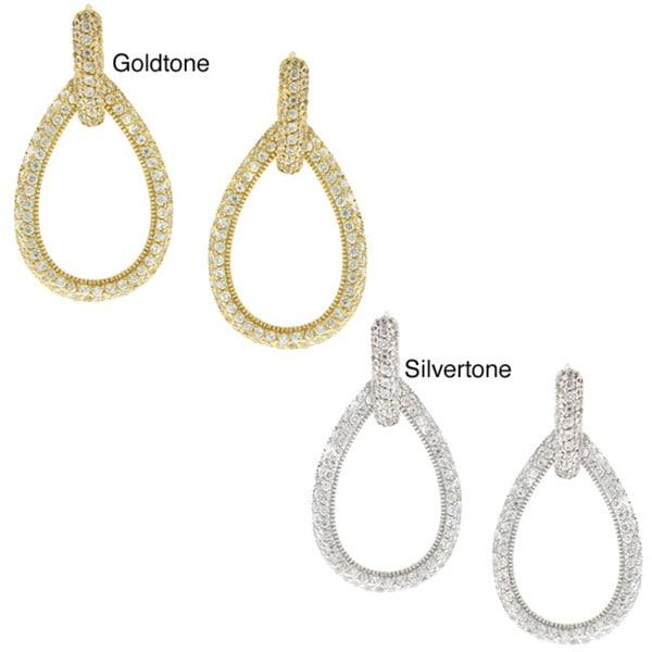 Icz Stonez Goldtone Cubic Zirconia Teardrop Dangle Earrings