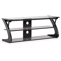 Sculpten Dark Brown MDF/ Steel Glass-shelved TV Stand