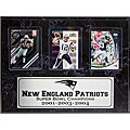 New England Patriots 3-time Champion 3-card Plaque