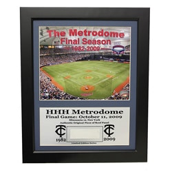 "Minnesota Twins Metrodome Deluxe ""Piece of the Roof"" Frame"