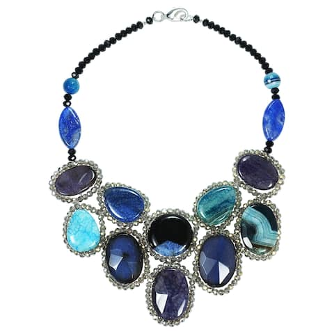 Handmade Round Blue Mosaic Bib Necklace (Thailand)