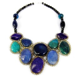 Handmade Round Purple/ Blue Agate Mosaic Bib Statement Necklace (Thailand)