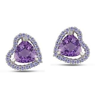 Miadora 10k White Gold 4-1/3ct TGW Gemstone and Diamond Earrings (H-I, I2)