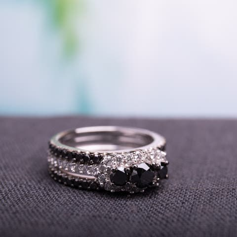Miadora Signature Collection 2 CT Black and White Diamond TW Fashion Ring 10k White Gold GH I2;I3 Black Rhodium Plated
