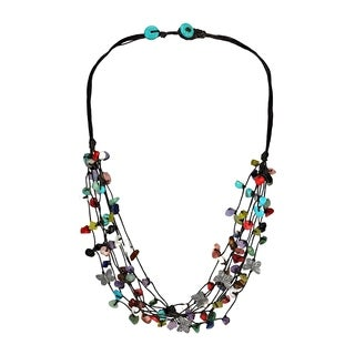 Handmade Pewter Butterfly Multicolored Stone Cluster Strands Necklace (Thailand)