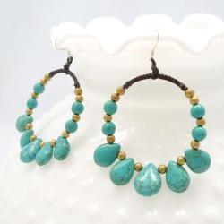 Royal Hoop Turquoise Dangle Sterling Silver Earrings (Thailand)