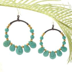 Handmade Royal Hoop Turquoise Dangle Sterling Silver Earrings (Thailand)