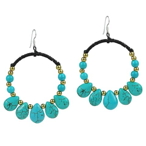 Handmade Royal Hoop Turquoise Sterling Silver Dangle Earrings (Thailand)