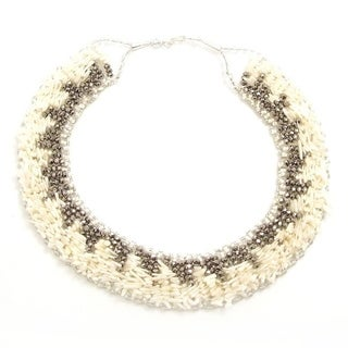Handmade White Synthetic Coral Dramatic Necklace