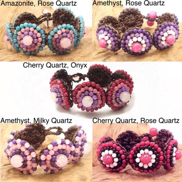 Handmade Mosaic Bubbles Beads Cotton Rope Bracelet (Thailand)